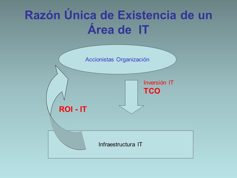 Razón Única de Existencia de un Área de IT Accionistas Organización Infraestructura IT Inversión IT TCO ROI - IT