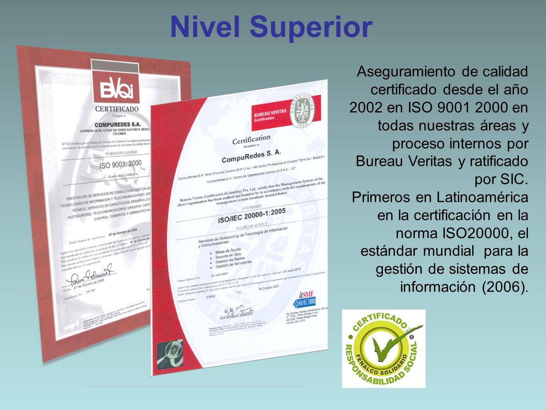Aseguramiento de calidad certificado desde el año 2002 en ISO 9001 2000 en todas nuestras áreas y proceso internos por Bureau Veritas y ratificado por