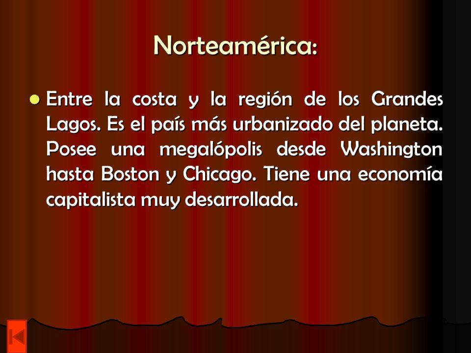 Norteamérica: Entre la costa y la región de los Grandes Lagos. Es el país más urbanizado del planeta. Posee una megalópolis desde Washington hasta Bos