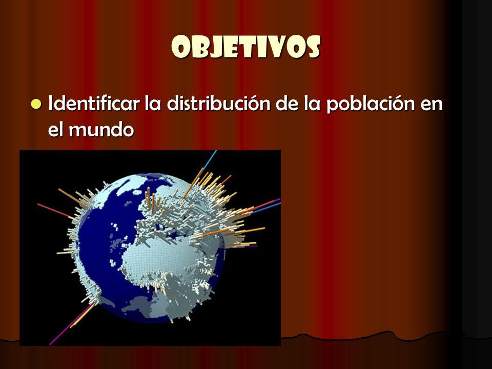 OBJETIVOS Identificar la distribución de la población en el mundo Identificar la distribución de la población en el mundo