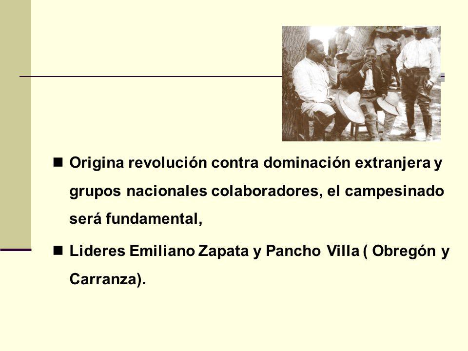 Origina revolución contra dominación extranjera y grupos nacionales colaboradores, el campesinado será fundamental, Lideres Emiliano Zapata y Pancho V