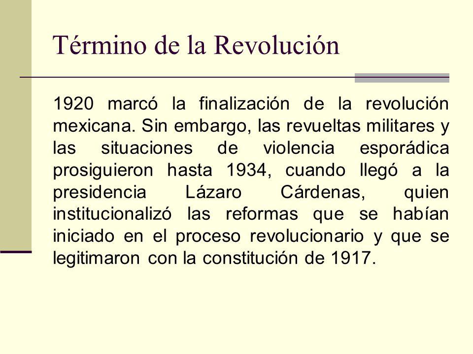 1920 marcó la finalización de la revolución mexicana. Sin embargo, las revueltas militares y las situaciones de violencia esporádica prosiguieron hast