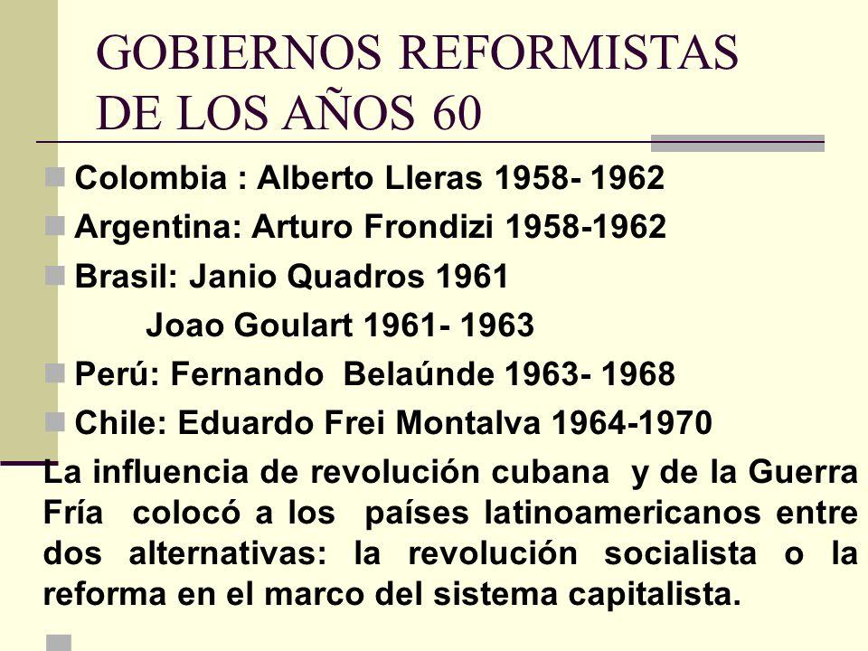 GOBIERNOS REFORMISTAS DE LOS AÑOS 60 Colombia : Alberto Lleras 1958- 1962 Argentina: Arturo Frondizi 1958-1962 Brasil: Janio Quadros 1961 Joao Goulart