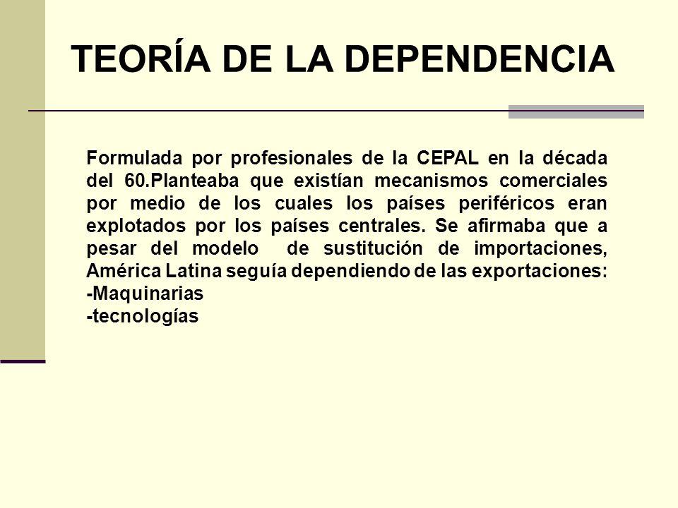 TEORÍA DE LA DEPENDENCIA Formulada por profesionales de la CEPAL en la década del 60.Planteaba que existían mecanismos comerciales por medio de los cu