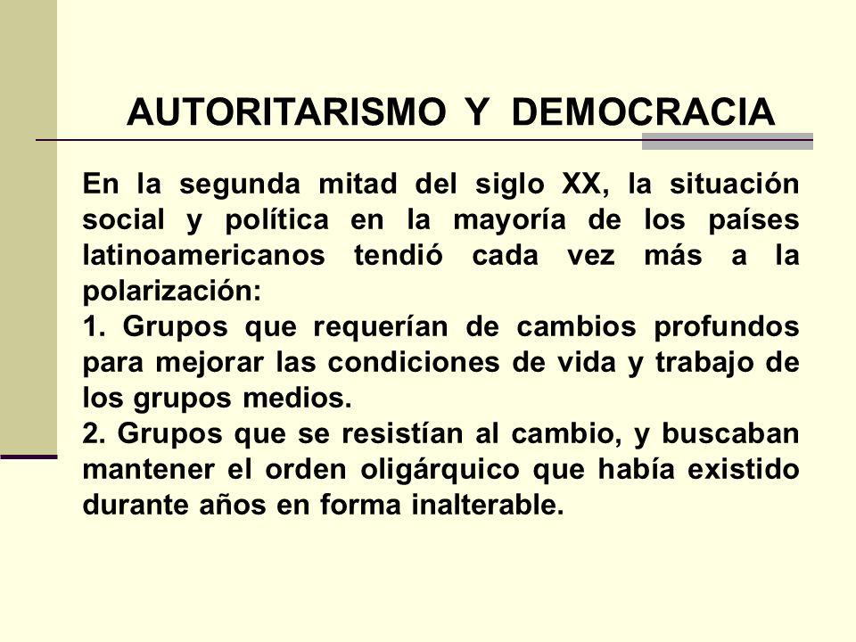 AUTORITARISMO Y DEMOCRACIA En la segunda mitad del siglo XX, la situación social y política en la mayoría de los países latinoamericanos tendió cada v