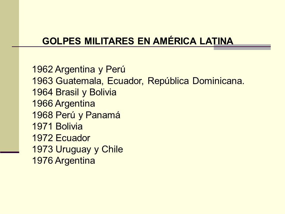 GOLPES MILITARES EN AMÉRICA LATINA 1962 Argentina y Perú 1963 Guatemala, Ecuador, República Dominicana. 1964 Brasil y Bolivia 1966 Argentina 1968 Perú
