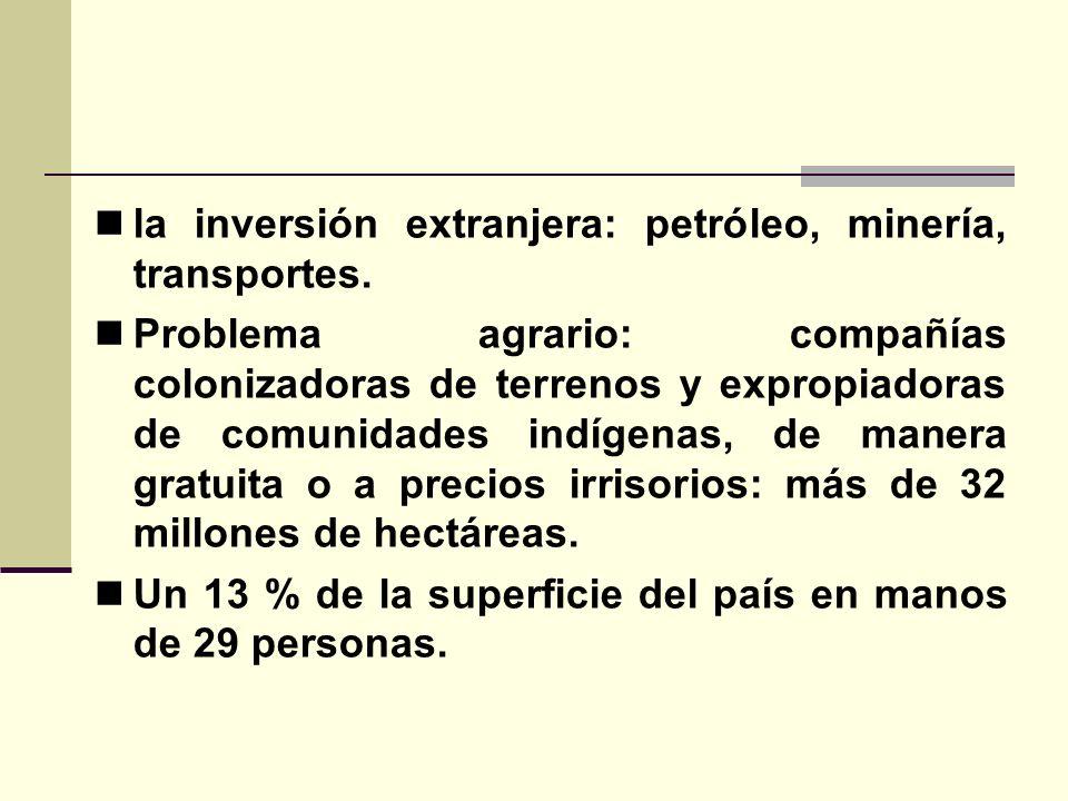 la inversión extranjera: petróleo, minería, transportes. Problema agrario: compañías colonizadoras de terrenos y expropiadoras de comunidades indígena