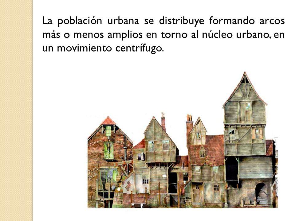 La población urbana se distribuye formando arcos más o menos amplios en torno al núcleo urbano, en un movimiento centrífugo.
