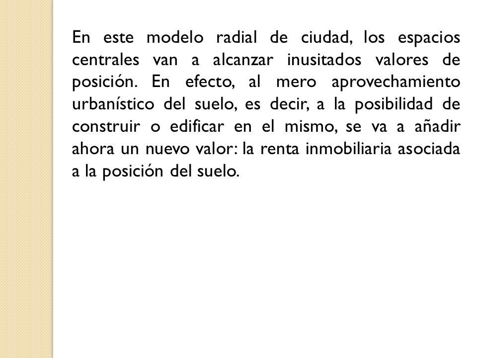 En este modelo radial de ciudad, los espacios centrales van a alcanzar inusitados valores de posición. En efecto, al mero aprovechamiento urbanístico