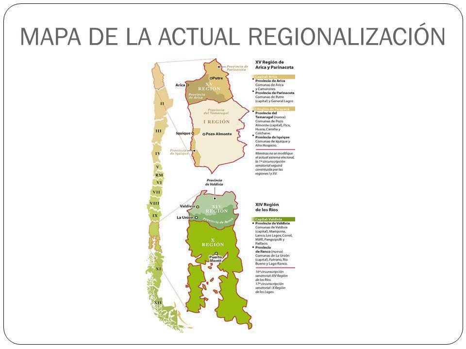 MAPA DE LA ACTUAL REGIONALIZACIÓN