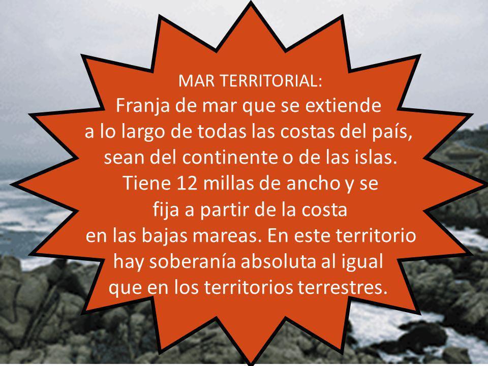 MAR TERRITORIAL: Franja de mar que se extiende a lo largo de todas las costas del país, sean del continente o de las islas. Tiene 12 millas de ancho y