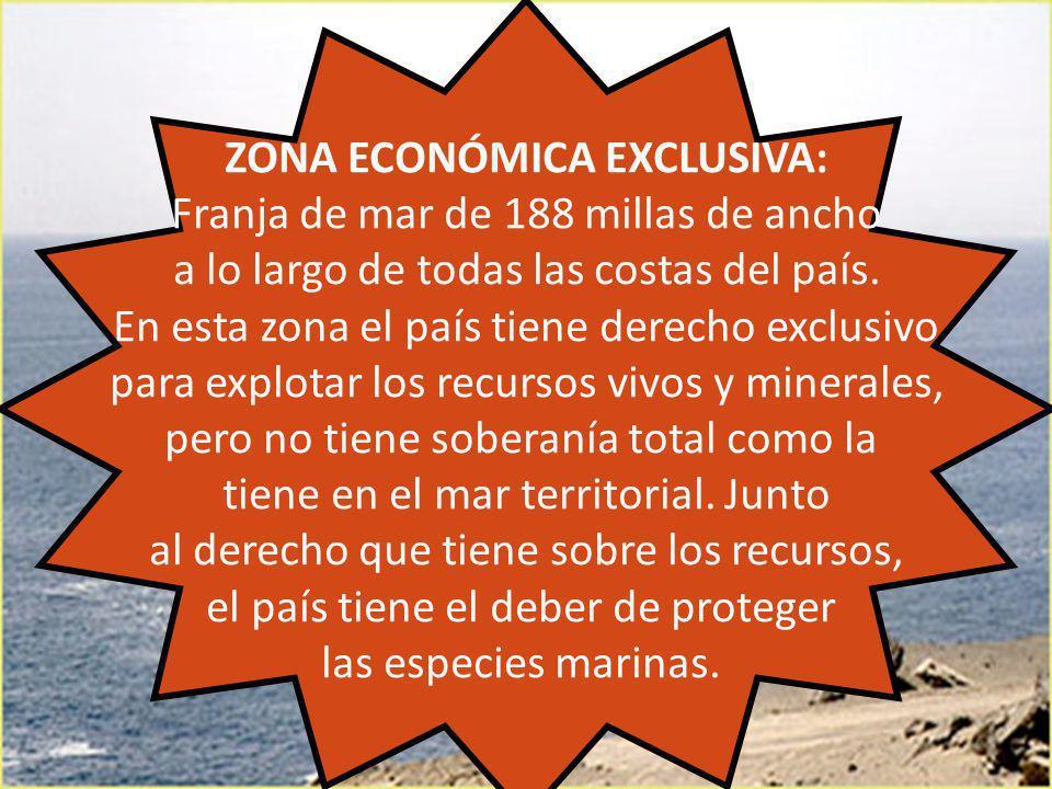 ZONA ECONÓMICA EXCLUSIVA: Franja de mar de 188 millas de ancho a lo largo de todas las costas del país. En esta zona el país tiene derecho exclusivo p