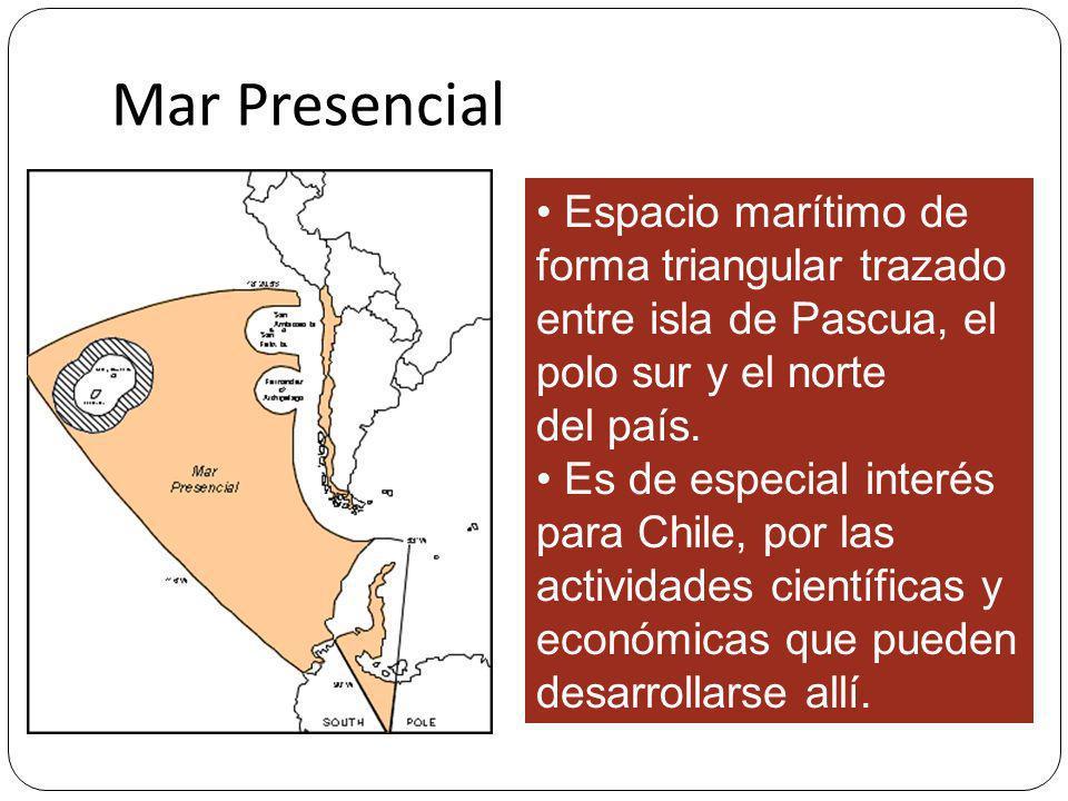 MAR PRESENCIAL Espacio marítimo de forma triangular trazado entre isla de Pascua, el polo sur y el norte del país. Es de especial interés para Chile,