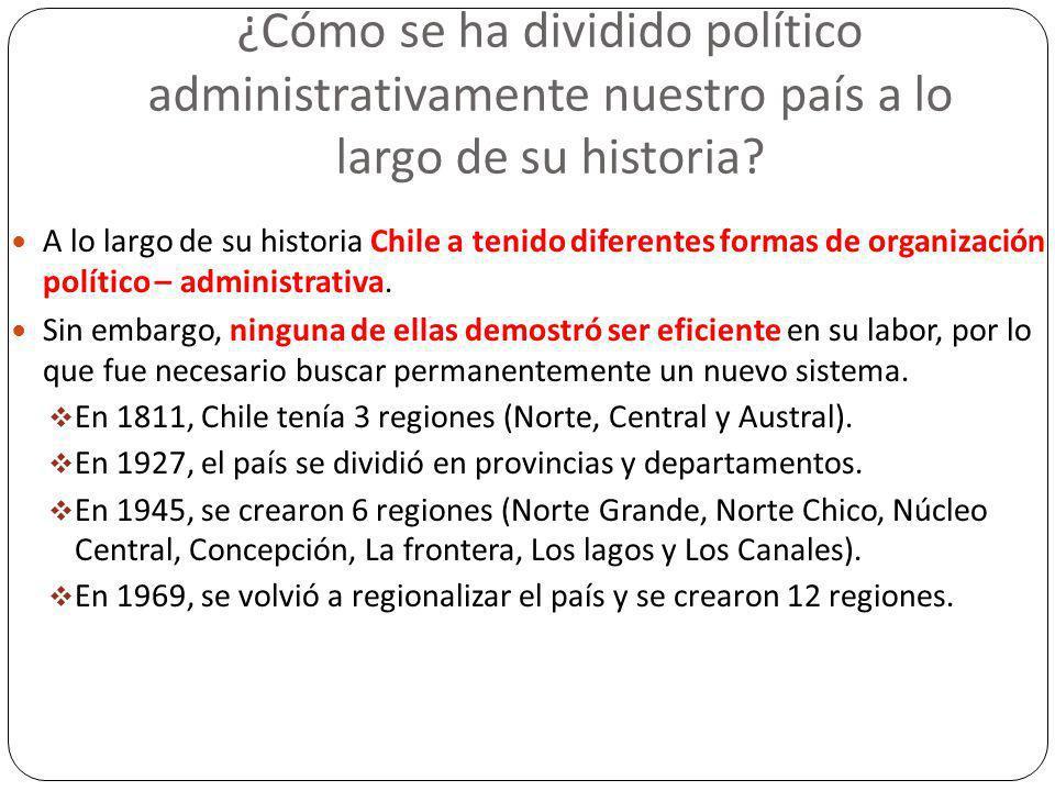 ¿Cómo se ha dividido político administrativamente nuestro país a lo largo de su historia? A lo largo de su historia Chile a tenido diferentes formas d