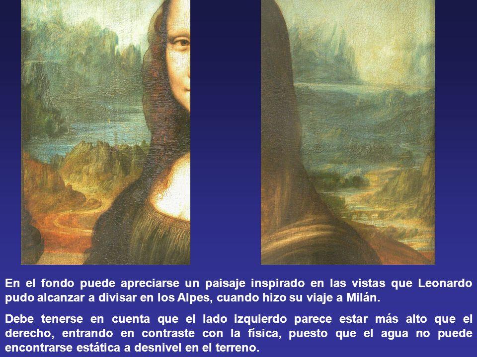En el fondo puede apreciarse un paisaje inspirado en las vistas que Leonardo pudo alcanzar a divisar en los Alpes, cuando hizo su viaje a Milán.