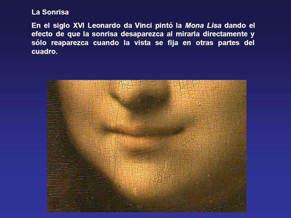La Sonrisa En el siglo XVI Leonardo da Vinci pintó la Mona Lisa dando el efecto de que la sonrisa desaparezca al mirarla directamente y sólo reaparezca cuando la vista se fija en otras partes del cuadro.