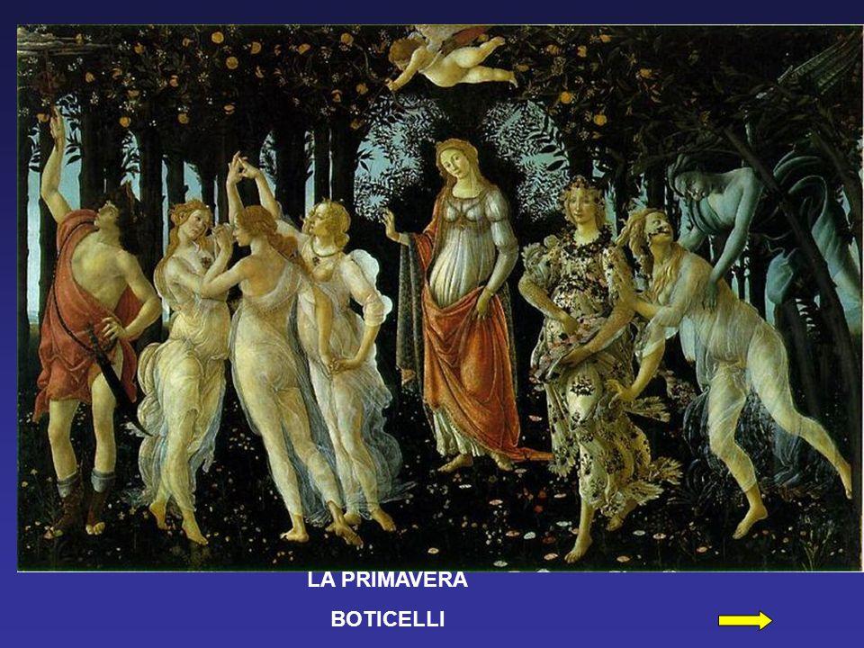 Mercurio – Hermes El dios queda identificado por los calzados con alas y por el caduceo usado para separar serpientes y hacer la paz (Botticelli ha representado las serpientes como dragones alados); con su yelmo y su espada, parece claramente el guardián del jardín de Venus.