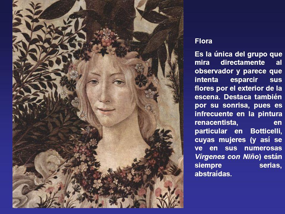Flora Es la única del grupo que mira directamente al observador y parece que intenta esparcir sus flores por el exterior de la escena.