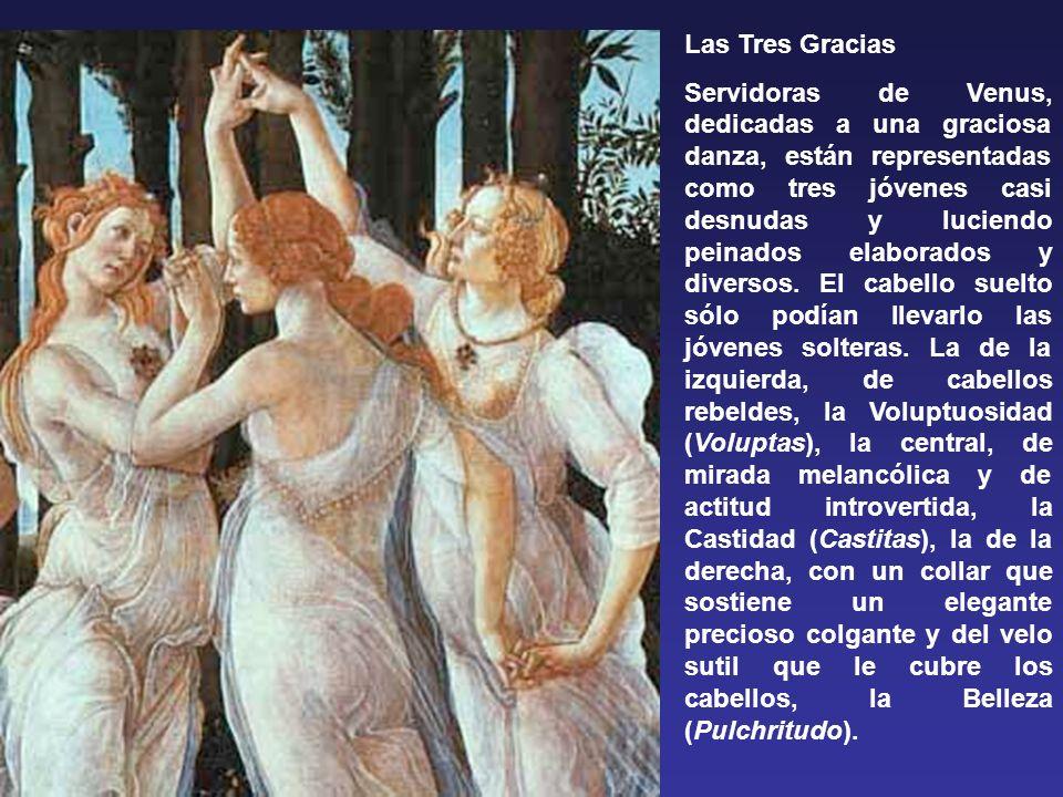 Las Tres Gracias Servidoras de Venus, dedicadas a una graciosa danza, están representadas como tres jóvenes casi desnudas y luciendo peinados elaborados y diversos.
