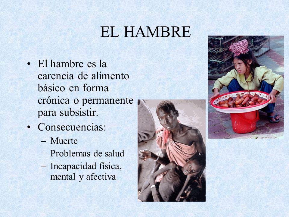 EL HAMBRE El hambre es la carencia de alimento básico en forma crónica o permanente para subsistir. Consecuencias: –Muerte –Problemas de salud –Incapa