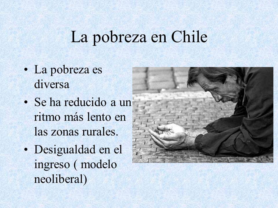 La pobreza en Chile La pobreza es diversa Se ha reducido a un ritmo más lento en las zonas rurales. Desigualdad en el ingreso ( modelo neoliberal)