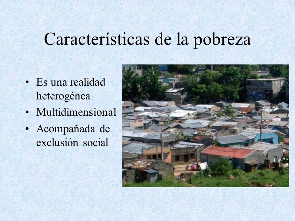 Características de la pobreza Es una realidad heterogénea Multidimensional Acompañada de exclusión social