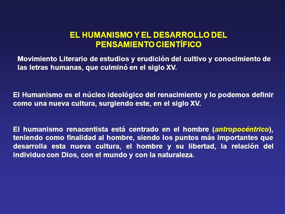 EL HUMANISMO Y EL DESARROLLO DEL PENSAMIENTO CIENTÍFICO Movimiento Literario de estudios y erudición del cultivo y conocimiento de las letras humanas,