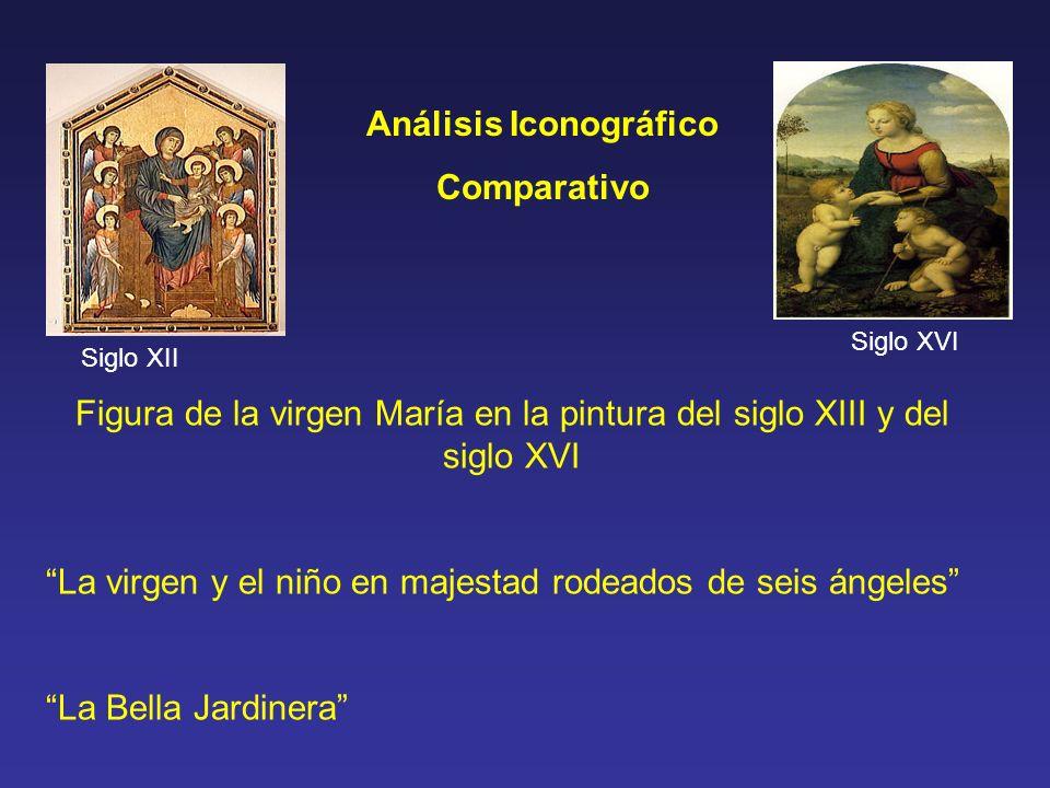 Análisis Iconográfico Comparativo Figura de la virgen María en la pintura del siglo XIII y del siglo XVI La virgen y el niño en majestad rodeados de s