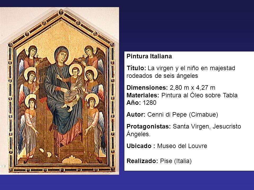 Pintura Italiana Título: La virgen y el niño en majestad rodeados de seis ángeles Dimensiones: 2,80 m x 4,27 m Materiales: Pintura al Óleo sobre Tabla