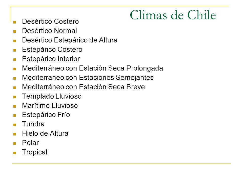 Climas de Chile Desértico Costero Desértico Normal Desértico Estepárico de Altura Estepárico Costero Estepárico Interior Mediterráneo con Estación Sec
