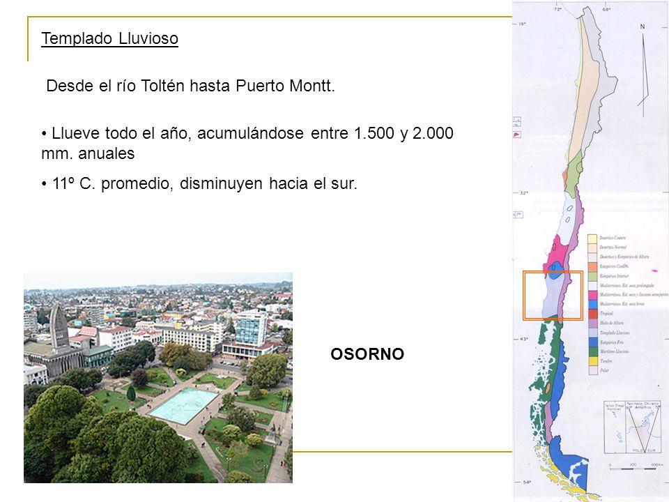 Templado Lluvioso Desde el río Toltén hasta Puerto Montt. Llueve todo el año, acumulándose entre 1.500 y 2.000 mm. anuales 11º C. promedio, disminuyen