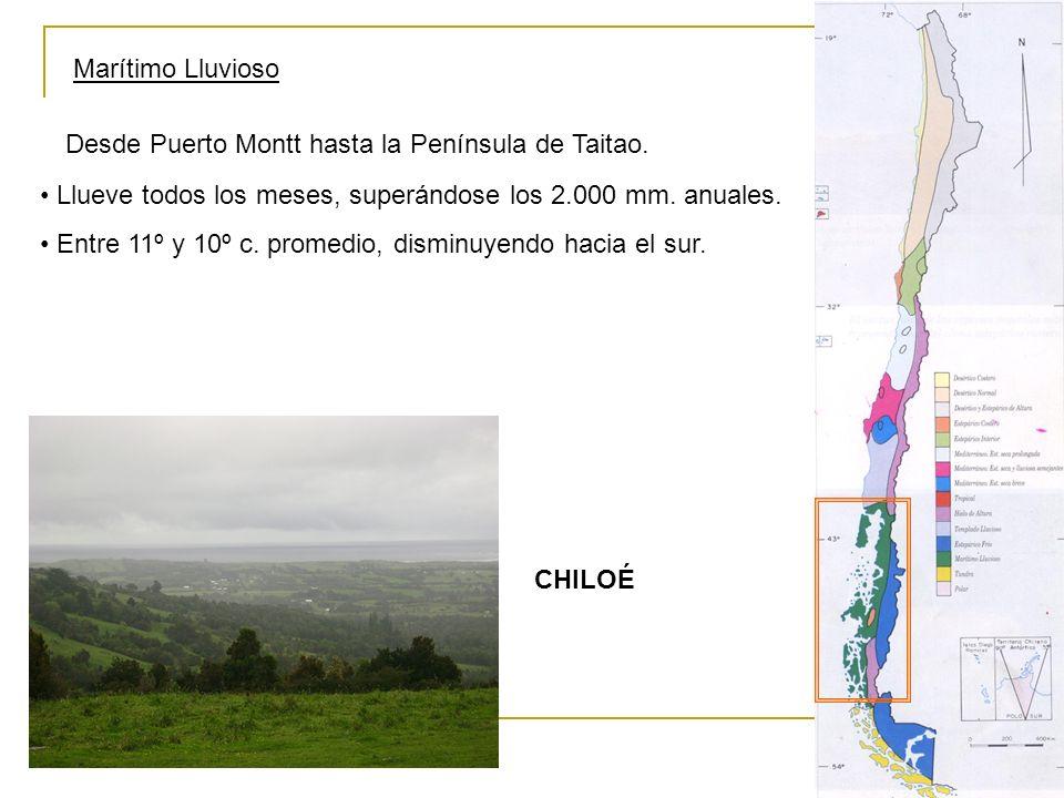 Marítimo Lluvioso Desde Puerto Montt hasta la Península de Taitao. Llueve todos los meses, superándose los 2.000 mm. anuales. Entre 11º y 10º c. prome