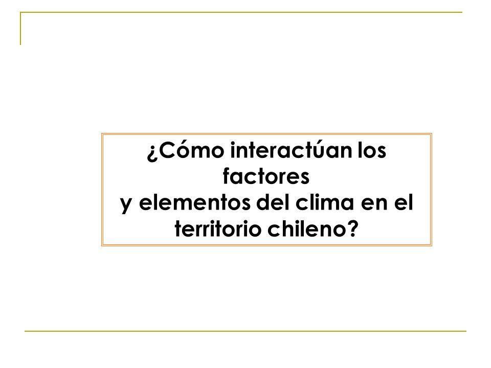 ¿Cómo interactúan los factores y elementos del clima en el territorio chileno?