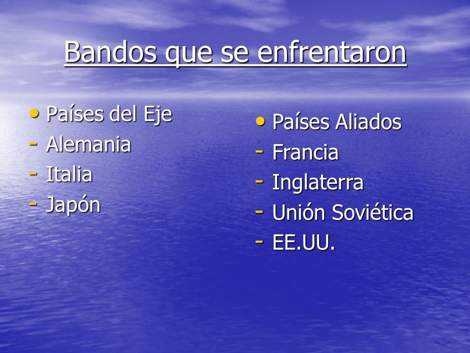 Bandos que se enfrentaron Países del Eje Países del Eje - Alemania - Italia - Japón Países Aliados Países Aliados - Francia - Inglaterra - Unión Soviética - EE.UU.