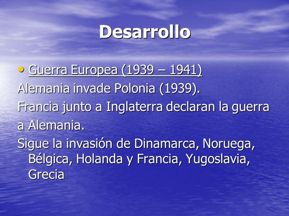 Desarrollo Guerra Europea (1939 – 1941) Guerra Europea (1939 – 1941) Alemania invade Polonia (1939).