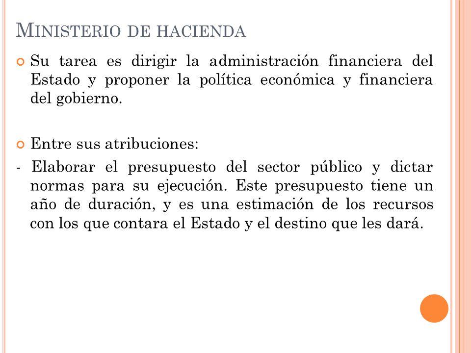M INISTERIO DE HACIENDA Su tarea es dirigir la administración financiera del Estado y proponer la política económica y financiera del gobierno. Entre