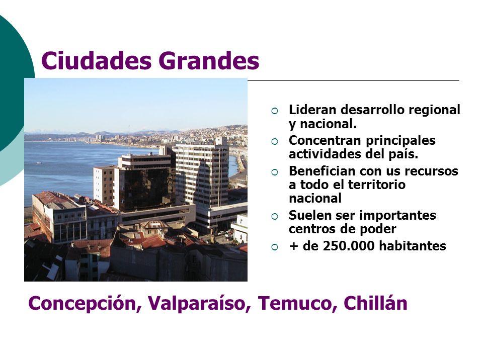 Ciudades Grandes Lideran desarrollo regional y nacional. Concentran principales actividades del país. Benefician con us recursos a todo el territorio