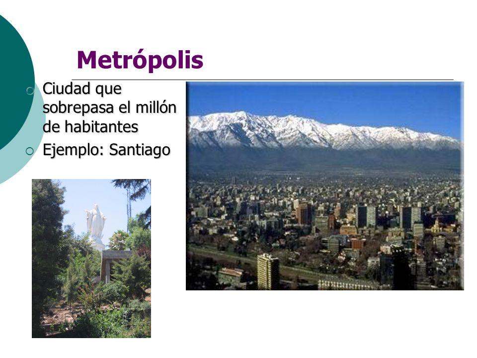 Metrópolis Ciudad que sobrepasa el millón de habitantes Ciudad que sobrepasa el millón de habitantes Ejemplo: Santiago Ejemplo: Santiago
