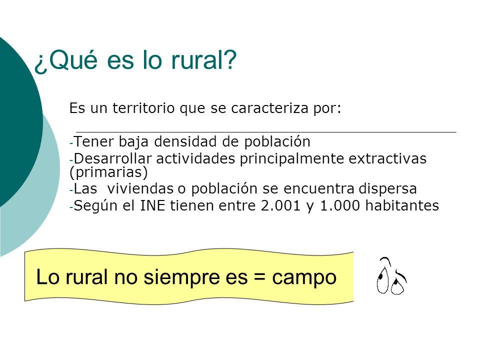 ¿Qué es lo rural? Es un territorio que se caracteriza por: - Tener baja densidad de población - Desarrollar actividades principalmente extractivas (pr