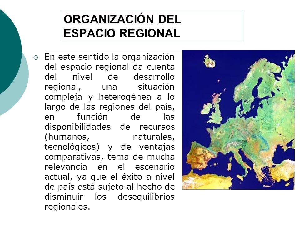 ORGANIZACIÓN DEL ESPACIO REGIONAL En este sentido la organización del espacio regional da cuenta del nivel de desarrollo regional, una situación compl