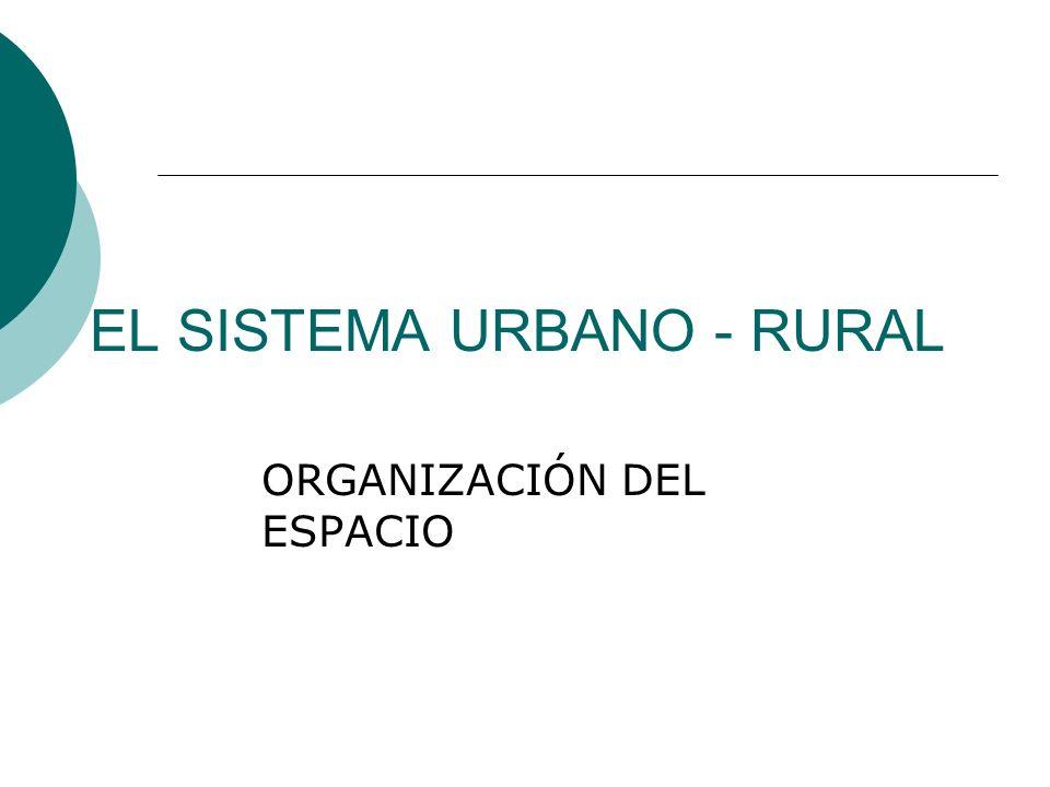 EL SISTEMA URBANO - RURAL ORGANIZACIÓN DEL ESPACIO