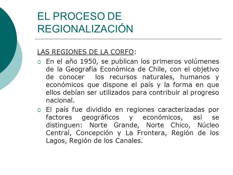 EL PROCESO DE REGIONALIZACIÓN LAS REGIONES DE LA CORFO: En el año 1950, se publican los primeros volúmenes de la Geografía Económica de Chile, con el
