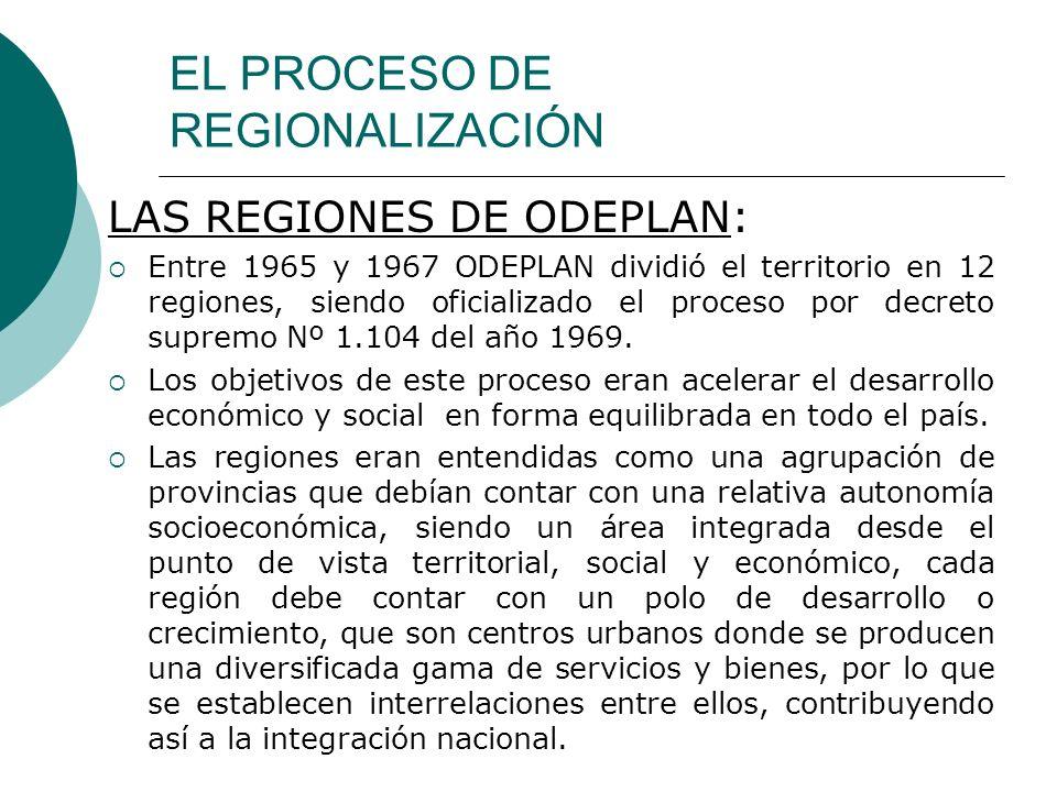 EL PROCESO DE REGIONALIZACIÓN LAS REGIONES DE ODEPLAN: Entre 1965 y 1967 ODEPLAN dividió el territorio en 12 regiones, siendo oficializado el proceso