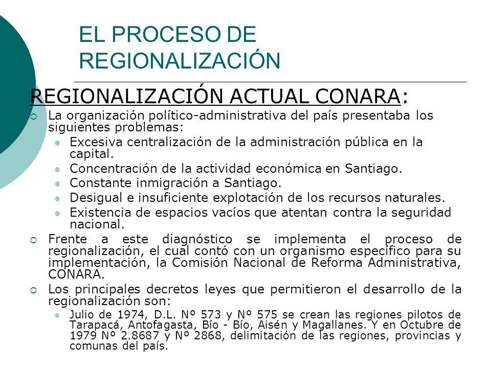 EL PROCESO DE REGIONALIZACIÓN REGIONALIZACIÓN ACTUAL CONARA: La organización político-administrativa del país presentaba los siguientes problemas: Exc