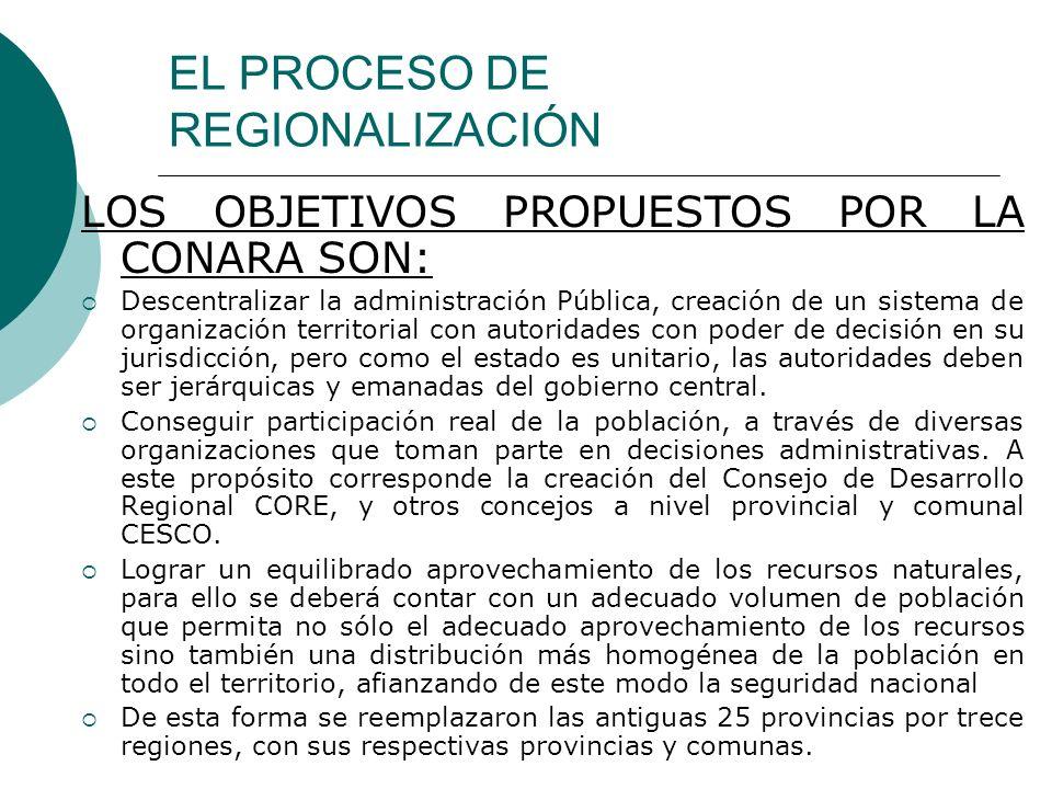 EL PROCESO DE REGIONALIZACIÓN LOS OBJETIVOS PROPUESTOS POR LA CONARA SON: Descentralizar la administración Pública, creación de un sistema de organiza