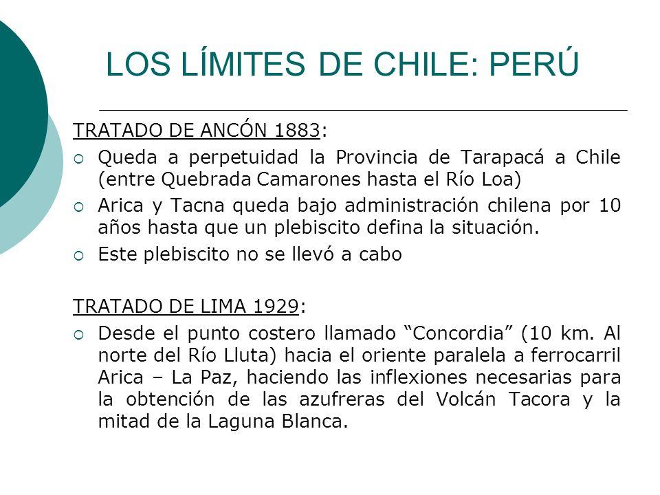LOS LÍMITES DE CHILE: PERÚ TRATADO DE ANCÓN 1883: Queda a perpetuidad la Provincia de Tarapacá a Chile (entre Quebrada Camarones hasta el Río Loa) Ari