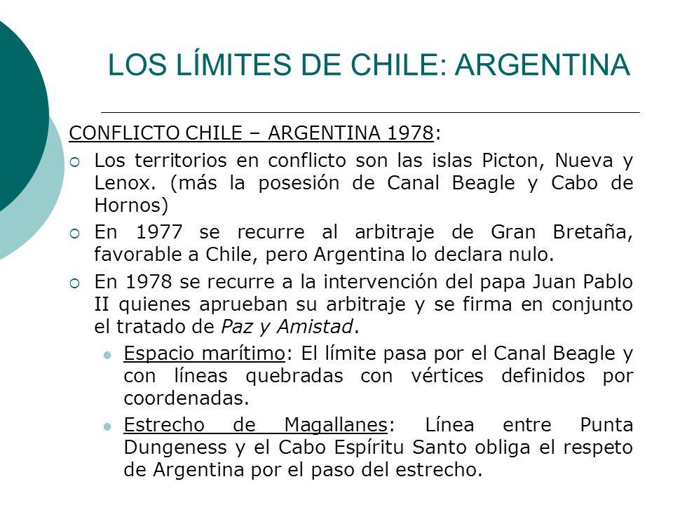 LOS LÍMITES DE CHILE: ARGENTINA CONFLICTO CHILE – ARGENTINA 1978: Los territorios en conflicto son las islas Picton, Nueva y Lenox. (más la posesión d