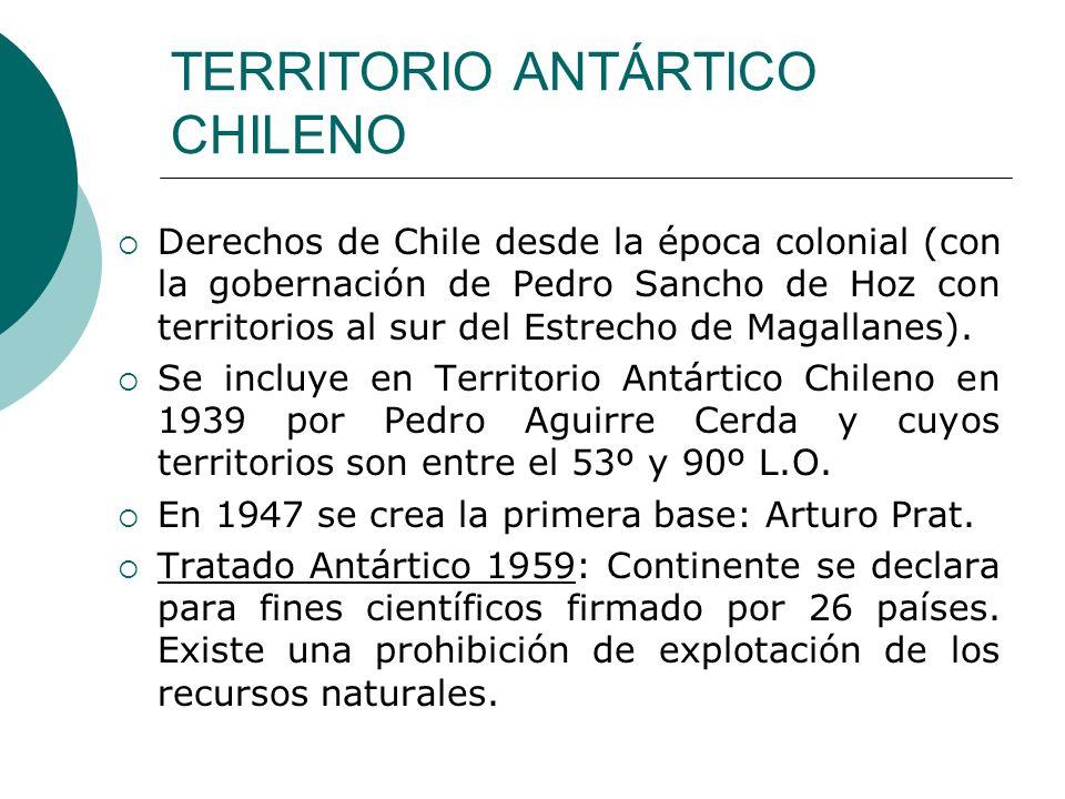 TERRITORIO ANTÁRTICO CHILENO Derechos de Chile desde la época colonial (con la gobernación de Pedro Sancho de Hoz con territorios al sur del Estrecho