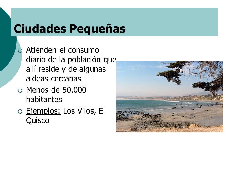 Ciudades Pequeñas Atienden el consumo diario de la población que allí reside y de algunas aldeas cercanas Menos de 50.000 habitantes Ejemplos: Los Vil