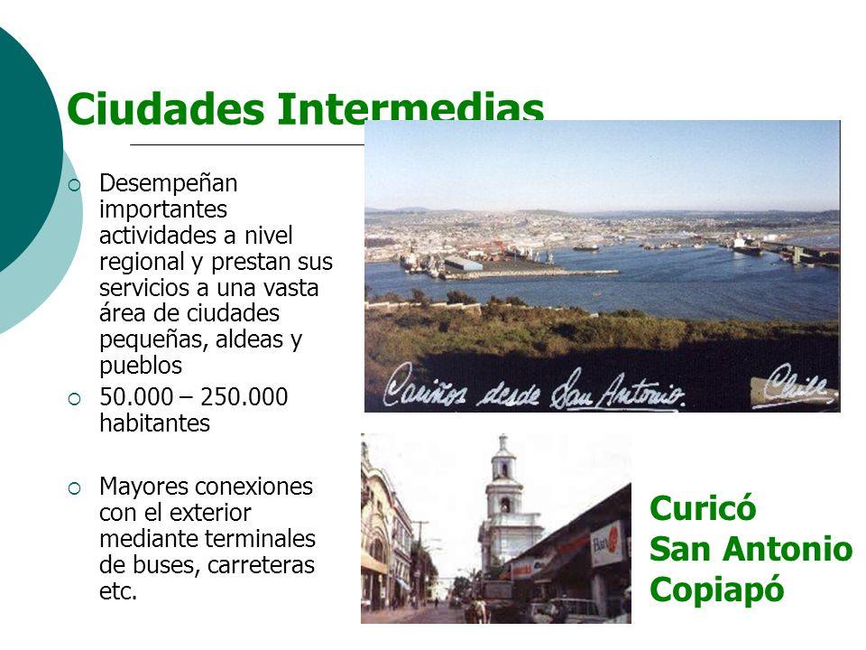 Ciudades Intermedias Desempeñan importantes actividades a nivel regional y prestan sus servicios a una vasta área de ciudades pequeñas, aldeas y puebl